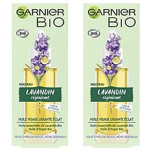 Garnier, Aceite Esencial de Lavandina Orgánico y Aceite de Argán Orgánico – Para todo tipo de pieles, incluso sensibles – 2 x 30 ml, Lot de 2