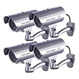 4 x Dummy Kamera IDAODAN Fake CCD-Überwachungskamera Wasserdichte Sicherheitskamera mit Blinkendem Rotem LED-Licht Silber