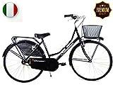 """SPEEDCROSS Súper PROMOCIÓN – Bicicleta 26″ de mujer """"Holanda"""" Senza Shifter con la cesta – Beis"""