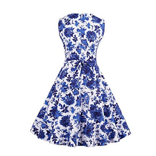 Dissa M1385 femme Rockabilly Robe de Soiré cocktail Robe de Bal Retro Bleu