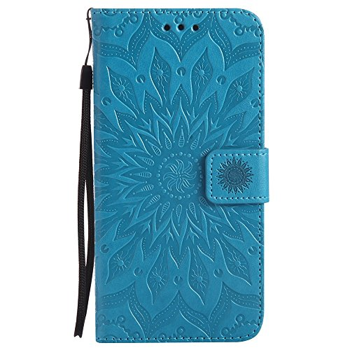 Für Samsung Galaxy Note 5 Fall, Prägen Sonnenblume Magnetische Muster Premium Weiche PU Leder Brieftasche Stand Case Cover mit Lanyard & Halter & Card Slots ( Color : Rose Gold ) Blue