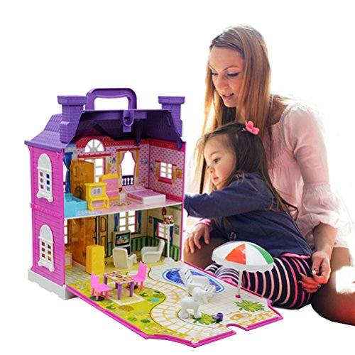 Odowalker Dollhouse Plastic Villa Full 15 pcs Furniture Dog Doll Pretend Play Toy with Light and Music for Little Girl Boy Age 3+
