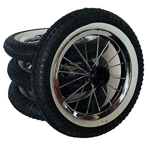4 x Kinderwagen Rad 12 1/2 Zoll kugelgelagert mit Metallspeichen mit weißen Rand