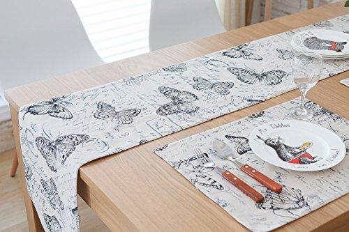 (CHEZMAX Fresh Farbe Baumwolle Leinen Wende Picknick Tischläufer Party Bankett Dekoration Outdoor Tischdecken mit Lange Fransen für Esstisch Butterfly Schwarz und Weiß 30,2x 199,9cm)
