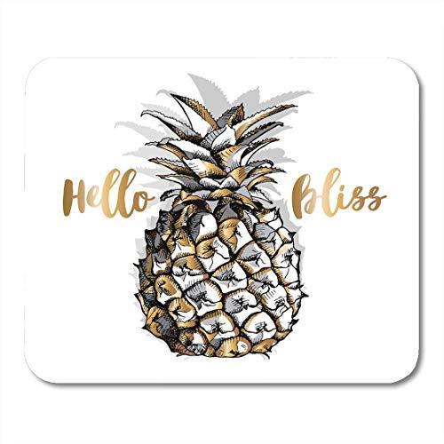 Luancrop Mauspad Silver Line Gold Ananas-Frucht auf Skizze, die gezeichnetes Mousepad für Notizbücher, Tischrechner-Mausunterlagen, Bürozubehöre zeichnet Gold-frucht