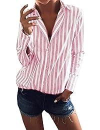 bd702e0399 Moda Top Casual a Rayas de Mujer Camiseta señoras de Manga Larga Suelta  Parte Tops Blusa