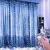 FishOaky Tenda Luci, Tenda Luminosa 300 LED 3mx3m, Catena Luminosa Luci Stringa Filo di Rame Impermeabile, Telecomando con 8 Modalità e Timer, Cascata di Luci USB per Natale Interni Esterni (Bianco)