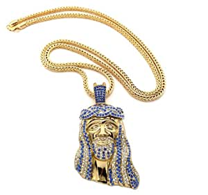 Iced Out Blue/Clear Gold Tone Jesus Pendant w/ 91.44cm Franco Chain MP424G-BLCL