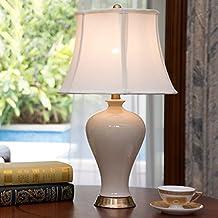 Cerámica Lámpara de mesa Dormitorio Dormitorio Luz Creativo Moderno Simple Calidez Salón Decoración Escritorio Lámparas ( Color : Blanco )