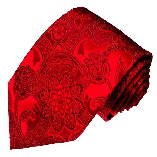 Lorenzo Cana - Rote Krawatte aus 100% Seide mit Paisley Muster - rote Seidenkrawatte - 25009