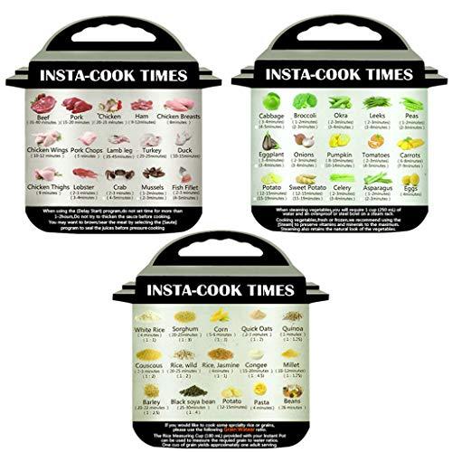 Colorful 丨 3er-Pack Magnetisches Spickzettel Kompatibel mit Instant Topf Bildern Magnet Garzeiten Zubehör für 45 allgemeine Vorbereitungsfunktionen Zubehör Magnete
