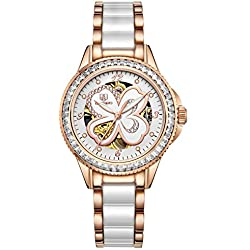 Fashion Lady watch/Automatic mechanical watches/Hollow out waterproof women's table-D