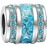 Soufeel Mars Pierre de Naissance Charm en Argent 925 Perle Bleu Seau Compatible Européen Bracelet Collier pour Anniversaire