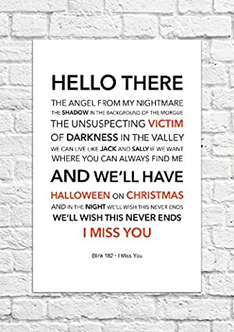Blink 182 – I Miss You – Songtext, Poster, ungerahmt
