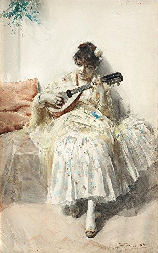 Das Museum Outlet–Anders Zorn–Mädchen spielen Mandoline 1884, gespannte Leinwand Galerie verpackt. 96,5x 121,9cm