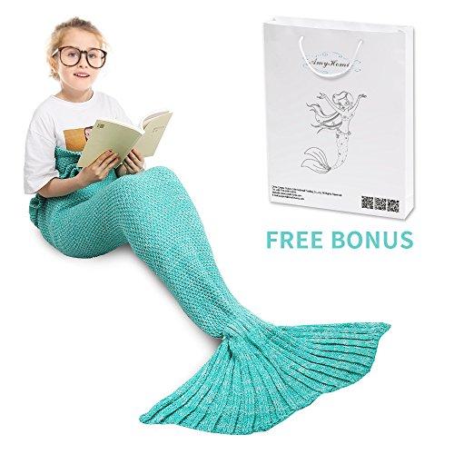 Amyhomie - coperta a forma di coda di sirenetta, realizzata a mano, in morbida maglia, sacco a pelo per adulti, per tutte le stagioni, acrilico, menta, bambino