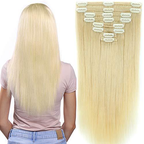 40cm-55cm Clip in Extensions Set 100% Remy Echthaar 8 Teilig 130g-160g Haarverlängerung dick Dopplet Tressen Clip-In Hair Extension ( 40cm-130g, Nr.60 Weißblond) (Volle Spitze Menschliches Haar Verlängerung)