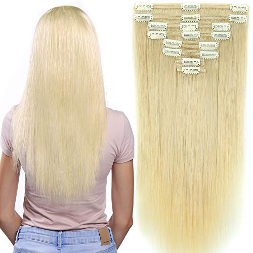 Clip in Extensions Set 100% Remy Echthaar 8 Teilig 130g-160g Haarverlängerung dick Dopplet Tressen Clip-In Hair Extension ( 35cm-120g, #60 Platinum Blonde) - 100 Extensions Nähen Echthaar