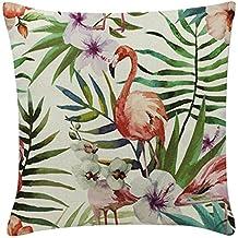 CAOLATOR Funda de Almohada Flamingo de Lino Fundas de Cojines Serie de Flamenco Decoración Oficina en Casa Sofá Funda de Almohada Relleno no Está Incluido -45x45cm (E)