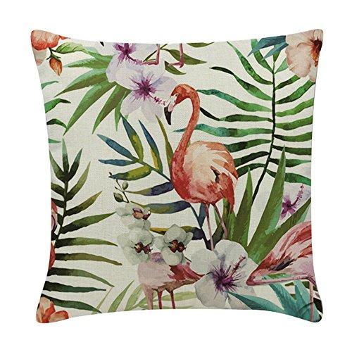 BIGBOBA - Funda de cojín de lino y algodón con forma de flamenco para sofá, cama,...
