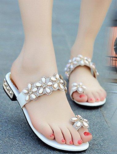 Les femmes avec des sandales plates et pantoufles ensembles de diamants de sandales glisser orteil glisser pantoufles sandales plates White