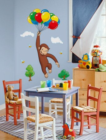 RoomMates RMK1082GM Curious George Peel & Stick Giant Wall Decal, giardino, prato, manutenzione