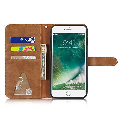 iPhone 6 Hülle,iPhone 6S Hülle,SUNWAY PU Leather Card Slot Folio Flip Dustproof Shackproof Scrach Proof Full Protection Wallet Case with Kickstand for iPhone 6/6S 4.7 Inch - Black Brown