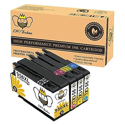 CMYBabee 4-Pack Remplacement Encre Cartouche pour HP 950XL 951XL 950 XL 951 XL (1 noir, 1 jaune, 1 magenta, 1 cyan) Grande capacité Utilisé dans HP Officejet Pro 8620 8600 Plus 8610 8100 276dw 8615 8630 251dw 8625 8640 8660