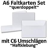 DIN A6 Faltkarten SET Doppelkarten | querdoppelt-langdoppelt | inklusive Umschlag in DIN C6 | 50 Sets | Hochweiß / Kristallweiß | Einladungskarten - Menükarten - Blanko | 105 x 148 mm | formstabil | Printable für Drucker geeignet | PREMIUM Qualitätsmarke: NEUSER FarbenFroh