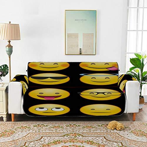 WDDHOME Emoticon Emoticon Whatsapp Emozione Ridere Happy Top Copridivano Firm Cuscino per Divano Cuscini per divani Fantasia 66'(168 cm) per 3 posti Lavabile in Lavatrice Coprivaso