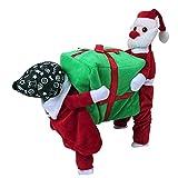 Tiaobug Santa Claus Kostüm Hundekostüm Hunde Bekleidung Samt Pullover Mantel Winter Weihnachtsmann Kostüm S M L XL XXL Rot&Grün XL
