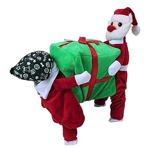 TiaoBug Chien Déguisement de Noël Costume de Père Noël Vêtements Manteau de Automne et Hiver Rouge & Vert