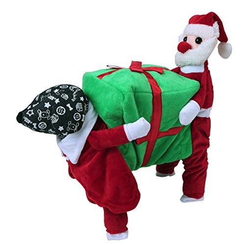 Hunde Santa Kostüm - Tiaobug Santa Claus Kostüm Hundekostüm Hunde Bekleidung Samt Pullover Mantel Winter Weihnachtsmann Kostüm S M L XL XXL Rot&Grün S