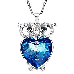 Idea Regalo - Nehzus blu cristallo Swarovski Elements gufo ciondolo collana per moglie fidanzata