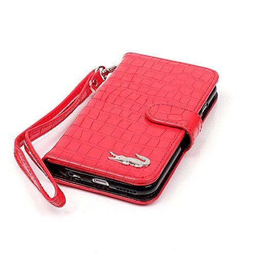 Coque iPhone 6/6S Cuir ,Modèle de crocodile Flip Cover Case Etui en Cuir pour iPhone 6 / iPhone 6S (4,7 Pouces) Housse de Protection Protecteur Portefeuille Étui (Rouge) Rouge