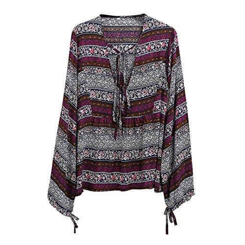 Butterme Damen Frauen Malaysia Bohemian Langarm Deep V Neck Lässige Tunika Tops Boho Floral Print Lose Hemd Blusen (V-neck Tunika Bluse)