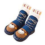 Calzini del Pavimento del Bambino,Vococal ® -1 paio Toddler lungo Pavimento Calze Scarpe Stivali Pantofole con Fondo Antiscivolo Orso Blu Scuro L
