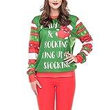 TianWlio Weihnachten Pullover Langarmshirt Bluse Hoodie Frauen Herbst Winter Weihnachtsbrief 3D Druck Langarm Sweatshirt Pullover Top (L, Grün)