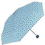 Superleichter Regenschirm mit Schwalben Eindruck - flacher Schirm Perletti - kompakter Damenschirm, perfekt auf Reisen oder als Taschenschirm - manuelle Öffnung - Durchmesser 90 cm (Blau)