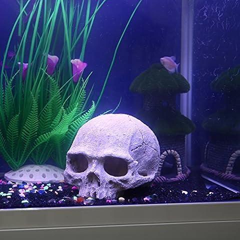 niceEshop(TM) Exotische Umgebungen Menschlicher Schädel Des Aquarium Verzierung, Grau