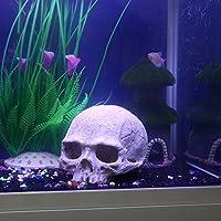Pawaca Adorno de resina de calavera humana para acuario, pecera, color gris, 11 x 13,5 x 11 cm