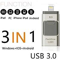 SETAYO 64GB 3 en 1 OTG móvil USB 3.0 Flash Drive con conector de rayos para el iPhone iPad y Android Micro USB y el PC y MAC