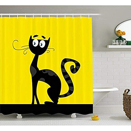 Yeuss Cat Shower Curtain, Cartoon-Stil-Zeichnung Einer schwarzen Katze Silhouette Pechvogel Halloween Theme Bild,Stoff Badezimmer Dekor Set mit Haken,gelb schwarz (Halloween Katze-zeichnung Schwarze)