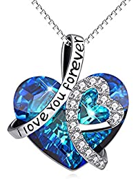 """Sterling Silver""""I Love You Forever"""" Heart Pendant Necklace with Swarovski Crystals - Jewellery for Women Mum Girlfriend Daughter"""