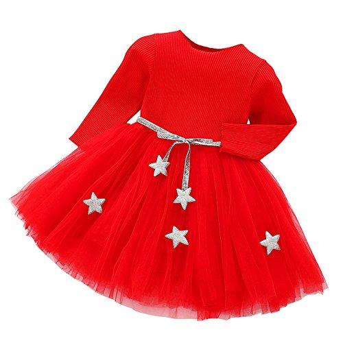 erthome Kinder Baby Mädchen Kleid Langarm Stern Party -