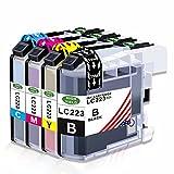 Toner Kingdom 4 Pack (1 Set) compatibles Brother LC223 XL Cartouches d'encre pour Brother DCP-J4120DW DCP-J562DW MFC-J5620DW MFC-J5320DW MFC-J4420DW MFC-J4620DW MFC-J480DW MFC-J480DW MFC-J880DW MFC-J4680DW MFC-J4680DW MFC- J5625DW MFC-J5720DW