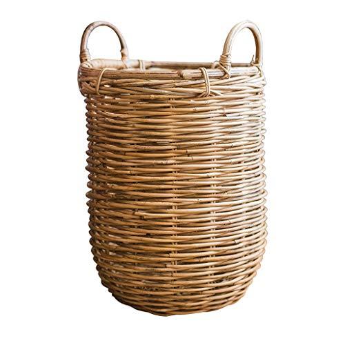 ZHAOSHUNLI Panier à linge Panier à linge panier de rangement poignée de rotin d'herbe texture naturelle (Size : S)