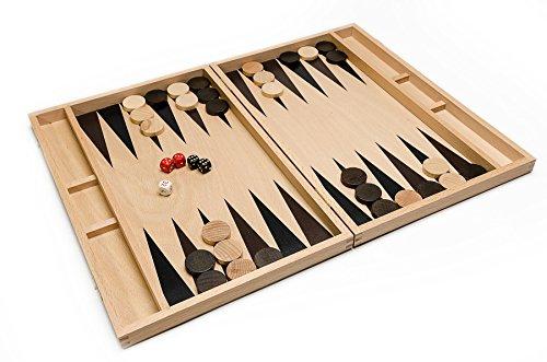 BACKGAMMON - große 46cmm / 18,1 In Handarbeit aus Holz Backgammon