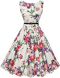 8a6ec3af3ff47 Vestidos Rockabilly Mujer Años 50 Retro Plisado Swing Vestidos De Verano  Sin Mangas Cuello Redondo Flores