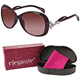 #7: Elegante UV Protected Brown Oversized Sunglasses for Girls and Women